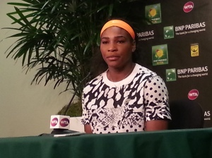 Serena Williams talks to the media during the BNP Paribas Open in March, 2015.