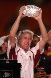 USC coach Pete Carroll holds BCS Championship trophy after 55-19 victory over Oklahoma in the FedEx Orange Bowl in Miami, Fla. on Tuesday, Jan. 4, 2005.