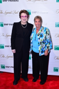 September 12, 2015 – Billie Jean King (left) and Rosie Casals pose together at The Tennis Hall of Fame Legends Ball at Cipriani in New York,