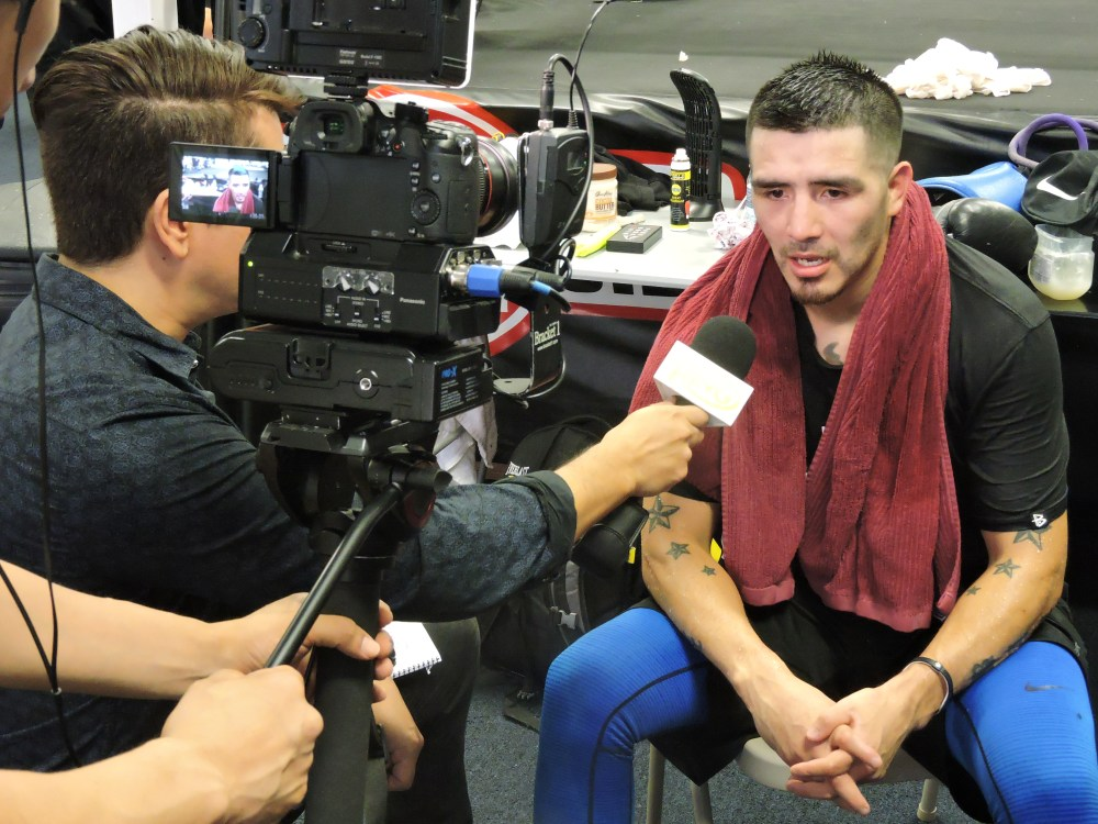 Brandon Rios answers questions following his media workout on Oct. 27 in Riverside, Calif. Rios is preparing to take on Timothy Bradley on Nov. 7 at the Thomas and Mack in Las Vegas.