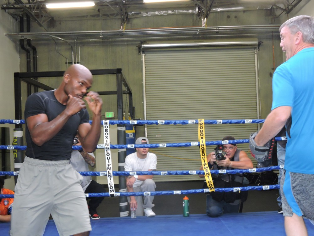 Timothy Bradley works with trainer Teddy Atlas during his media workout on Oct. 28 in preparation for his fight against Brandon Rios. Bradley will face Rios on Nov. 7 at the Thomas and Mack arena in Las Vegas.